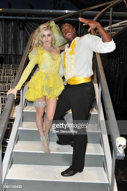Lindsay Arnold and DeMarcus Ware pose at 'Dancing with the Stars' Season 27 at CBS Televison City on October 29 2018 in Los Angeles California