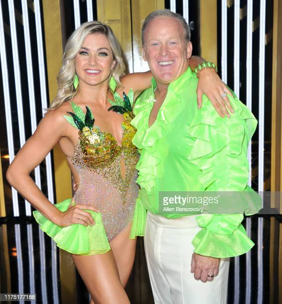 Lindsay Arnold and Sean Spicer attend the Dancing With The Stars Season 28 show at CBS Television City on September 16 2019 in Los Angeles California