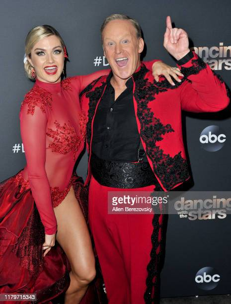 """Lindsay Arnold and Sean Spicer pose for a photo after the """"Dancing With The Stars"""" Season 28 show at CBS Televison City on October 07, 2019 in Los..."""