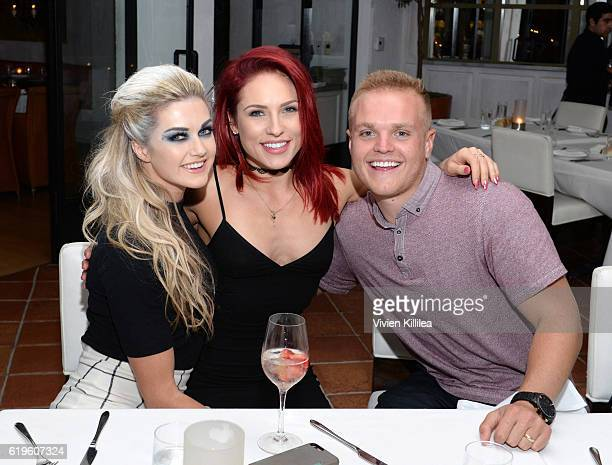 Lindsay Arnold Cusick Sharna Burgess and Sam Cusick attend Emma Slater And Sasha Farber's Engagement Dinner at Fig Olive on October 31 2016 in West...