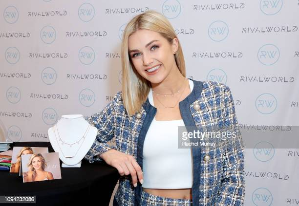 Lindsay Arnold poses with LAC by Lindsay Arnold jewerly during the launch of the RivalWorld Market at Macy's Westfield Century City on February 5...