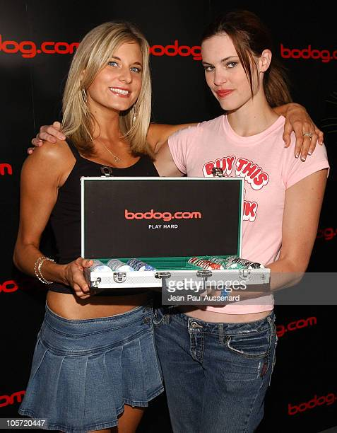 Lindsay Bedell and Michelle Deighton at bodog.com during bodog.com at The Silver Spoon Pre-Emmy Hollywood Buffet - Day 1 at Private residence in...