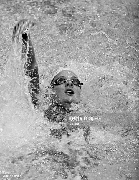 Lindsay Benko competes in the Women's 200 metre backstoke competition during the United States Olympic Trials for swimming on 14 August 2000 at the...