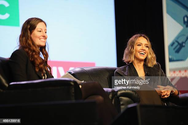 Lindsay Blakely and actress Jessica Alba speak at 'Inc Presents The Honest Company' during the 2015 SXSW Music Film Interactive Festival at the...