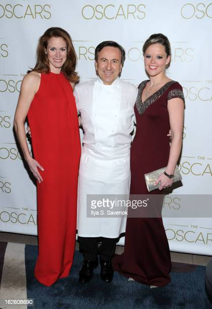 Lindsay Bress Daniel Boulud and Katherine Gage attend the 85th Academy Awards Official New York City Viewing Party on February 24 2013 in New York...