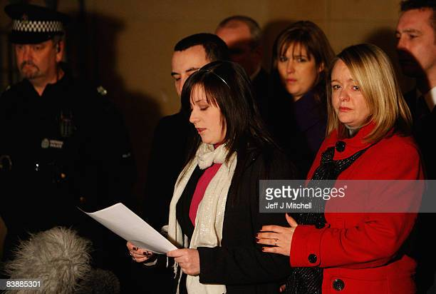 Lindsay Brown and Sharon Brown the sisters of Vickie Hamilton speak outside Dundee High Court on December 2 2008 in Dundee Scotland Peter Tobin has...