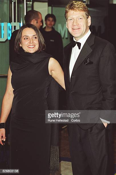 Lindsay Brunnock and actor Kenneth Branagh arrive at the premiere of Robert Altman's latest film Gosford Park which marked the opening of the 2001...