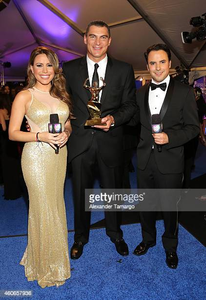 Lindsay Casinelli Faryd Mondragon and Alejandro Berry attend the inaugural Premios Univision Deportes at Univision Studios on December 17 2014 in...
