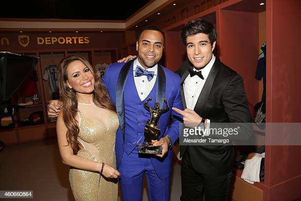 Lindsay Casinelli Nelson Cruz and Danilo Carrera attends the inaugural Premios Univision Deportes at Univision Studios on December 17 2014 in Miami...