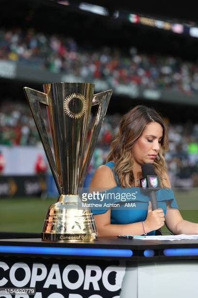 Lindsay casinelli of Mexican TV station Univision deportes during the 2019 CONCACAF Gold Cup Final between Mexico and United States of America at...