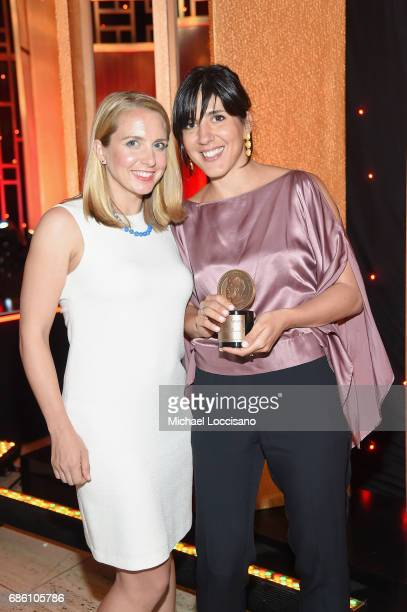 Lindsay Crouse and Daphne Matziaraki pose with an award at The 76th Annual Peabody Awards Ceremony at Cipriani Wall Street on May 20 2017 in New York...
