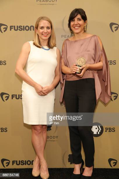 Lindsay Crouse and Daphne Matziaraki pose with an award during The 76th Annual Peabody Awards Ceremony at Cipriani Wall Street on May 20 2017 in New...