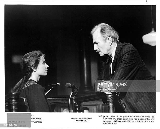 Lindsay Crouse is questioned by James Mason in a scene from the film 'The Verdict' 1982
