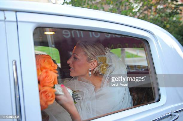 Lindsay Czarniak leaves the Church of the Holy City after her wedding on October 15 2011 in Washington DC