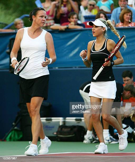 Lindsay Davenport and Anna Kournikova attend the St Louis Aces Vs Newport Beach Breakers match at the Dwight Davis Tennis Center on July 17 2010 in...