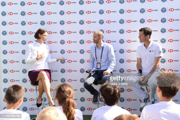 Lindsay Davenport Andrew Cotter and Tim Henman participate in a Wimbledon press conference with a twist on HSBC's Court 20 at Wimbledon on July 2...