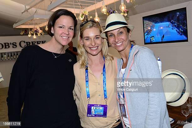Lindsay Davenport Barbara Schett and Iva Majoli pose at the Australian Open Legends Access Hour during day eight of the 2013 Australian Open at...