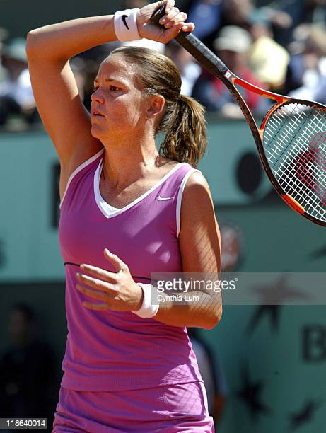 Lindsay Davenport beats Virginie Pichet 64 62 during 2004 French Open Women's First Round Lindsay Davenport Vs Virginie Pichet at Paris Roland Garros...