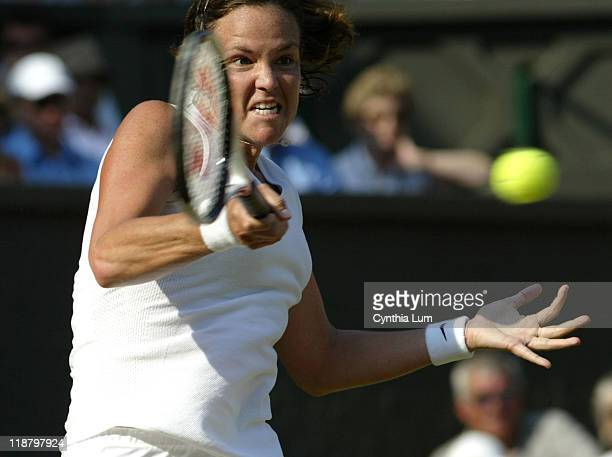 Lindsay Davenport defeats Kim Clijsters 63 67 63 in the fourthe round of the Wimbledon Championships