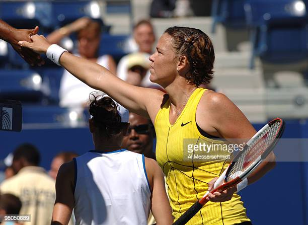 Lindsay Davenport defeats Nathalie Dechy in a women's singles match at the 2005 U S Open in Flushing New York on September 5 2005 Davenport defeated...