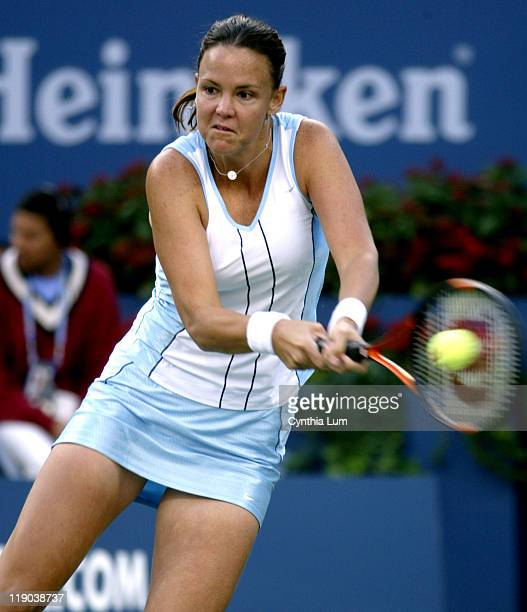 Lindsay Davenport defeats Venus Williams in the fourth round of the women's singles September 6 2004 at the 2004 US Open in New York