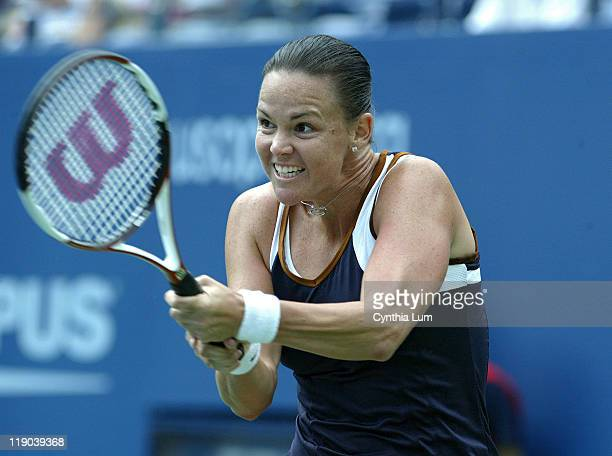 Lindsay Davenport during her quarterfinals match against Justine HeninHardenne at the 2006 US Open at the USTA Billie Jean King National Tennis...