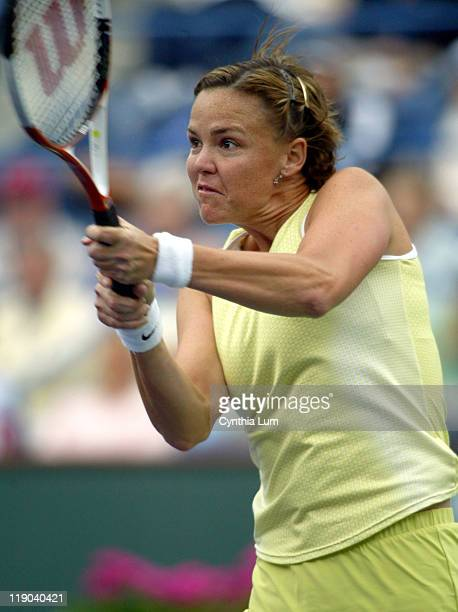Lindsay Davenport in action as she defeated Maria Sharapova 6-0, 6-0 in their semi-final match at the Pacific Life Open, on March 18, 2005 at Indian...