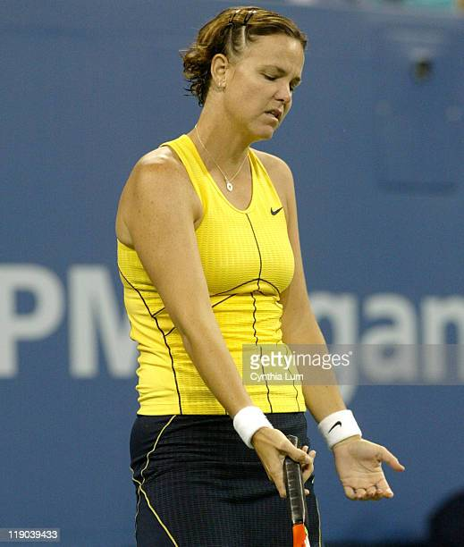 Lindsay Davenport in the quarterfinal of the US Open against Elena Dementieva at at Arthur Ashe Stadium in Flushing Meadow NY on September 7 2005...