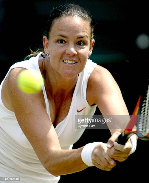 Lindsay Davenport of the United States advances to the next round of the Wimbledon Championships after defeating Vera Zvonareva of Russia 64 64 in...