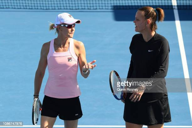 Lindsay Davenport of the United States and Rennae Stubbs of Australia in their Women's Legends Doubles match against Daniela Hantuchova of Slovakia...