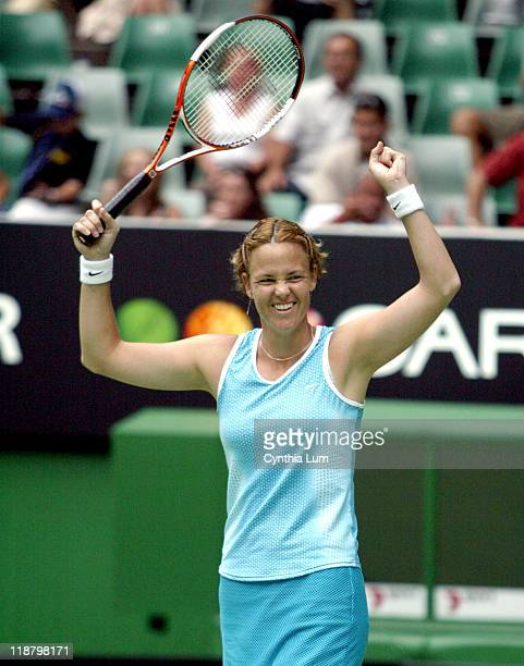 Lindsay Davenport of the USA during her 2005 Australian Open Semi Final match against Nathalie Dechy of France Lindsay Davenport won 26 76 64