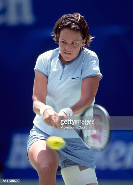 Lindsay Davenport of the USA in action against Martina Hingis of Switzerland during the Women's Singles Final of the Australian Open Tennis...