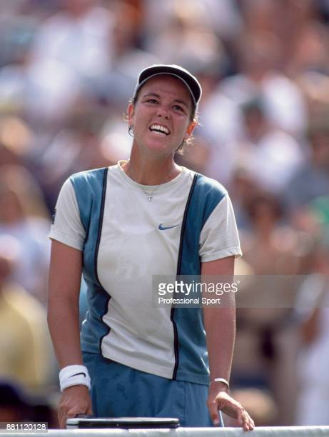 Lindsay Davenport of the USA smiling after defeating Martina Hingis of Switzerland in the Women's Singles Final of the US Open at the USTA National...