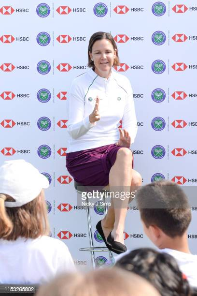 Lindsay Davenport participates in a Wimbledon press conference with a twist on HSBC's Court 20 at Wimbledon on July 2 2019 in London England