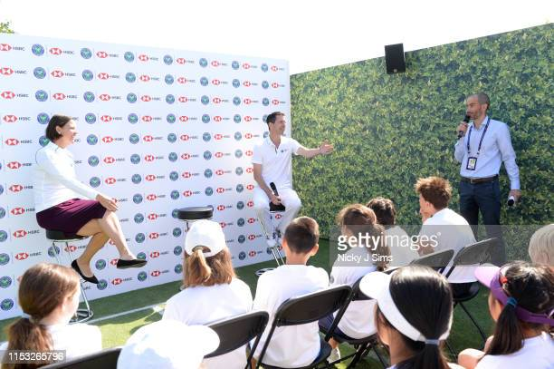 Lindsay Davenport Tim Henman and Andrew Cotter participate in a Wimbledon press conference with a twist on HSBC's Court 20 at Wimbledon on July 2...