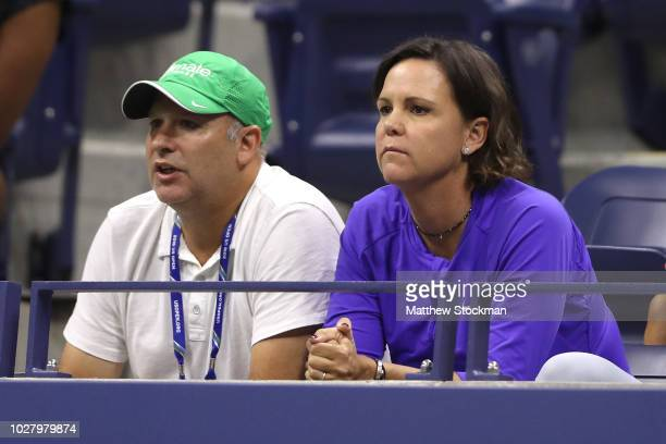 Lindsay Davenport watches the women's singles semifinal match between Madison Keys of the United States and Naomi Osaka of Japan on Day Eleven of the...
