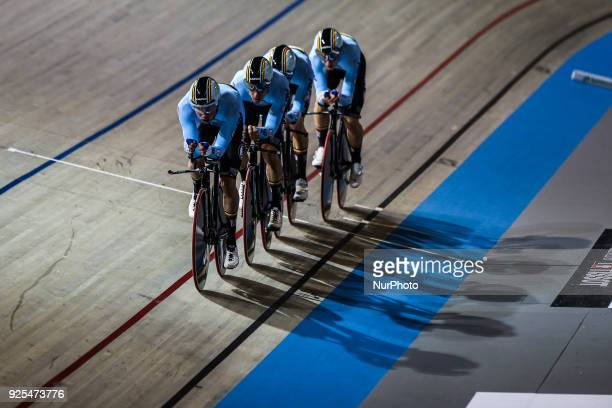 Lindsay de VylderKenny de KeteleMoreno de PauwRobbe Ghys of Men`s team Pursuit squad take part in the qualifying round of the UCI Track Cycling World...