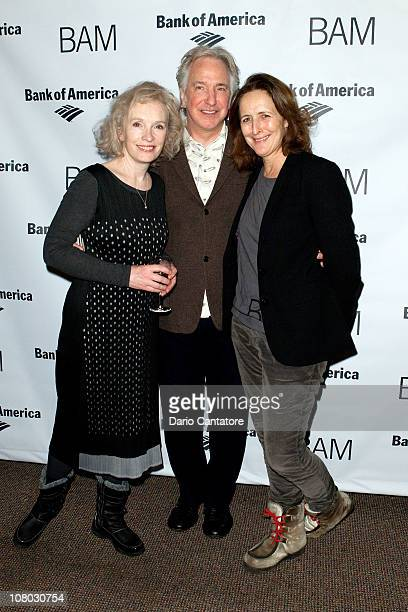 Lindsay Duncan Alan Rickman and Fiona Shaw attend the 'John Gabriel Borkman' after party at the Brooklyn Academy of Music on January 13 2011 in New...