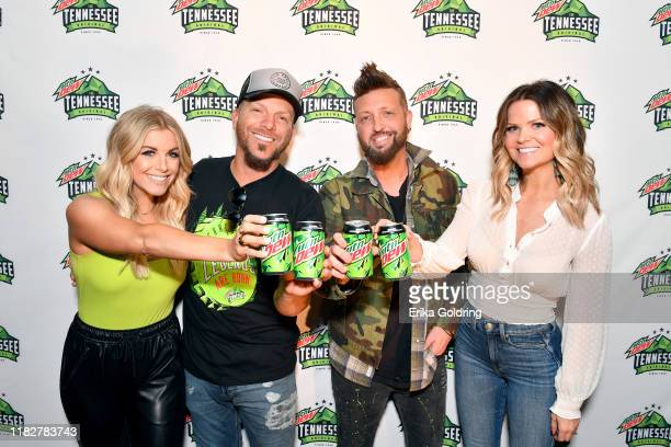 "Lindsay Ell Chris Lucas and Preston Brust of musical duo LOCASH and Amy Brown attend MTN DEW's ""The Tennessee Original Outpost"" at Ole Red on October..."