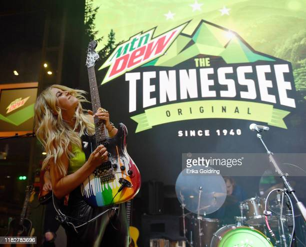 "Lindsay Ell performs onstage during MTN DEW's ""The Tennessee Original Outpost"" at Ole Red on October 22 2019 in Nashville Tennessee"