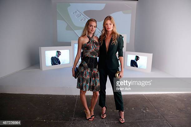 Lindsay Ellingson and Constance Jablonski attend The Visionary World of Vogue Italia Exhibition Opening Night presented by Peroni Nastro Azzurro on...