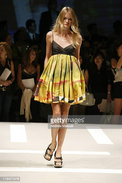 Lindsay Ellingson wearing DKNY Spring 2007 during Olympus Fashion Week Spring 2007 DKNY Runway at 711 Greenwich Street in New York City New York...