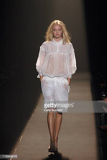 Lindsay Ellingson wearing Wunderkind Spring 2006 during Olympus Fashion Week Spring 2006 Wunderkind Runway at Bryant Park in New York City New York...