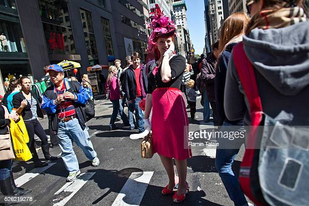 Lindsay Goranson, an actress participants for the 2012 Easter Parade during the annual New York City Easter parade on Manhattan's Fifth Avenue on...