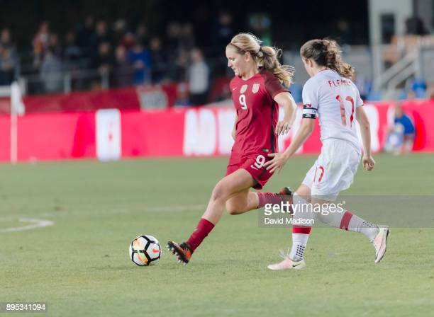 Lindsay Horan of the USA plays in an international friendly against Canada on November 12 2017 at Avaya Stadium in San Jose California Defending is...