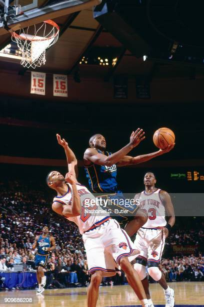 Lindsay Hunter of the Detroit Pistons shoots during a game played on March 26 1997 at Madison Square Garden in New York City NOTE TO USER User...