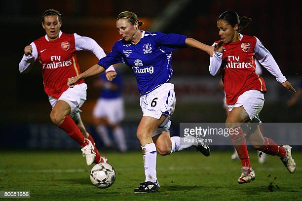 Lindsay Johnson of Everton battles for the ball with Alex Scott of Arsenal during the FA Tesco Women's Premier League Cup Final match between Everton...
