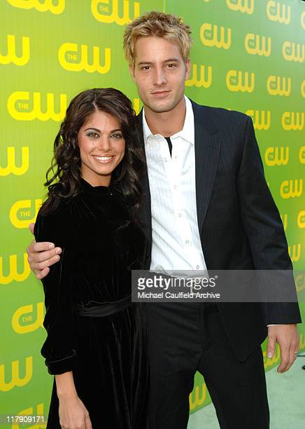 Lindsay Korman and Justin Hartley during The CW Launch Party Green Carpet at WB Main Lot in Burbank California United States