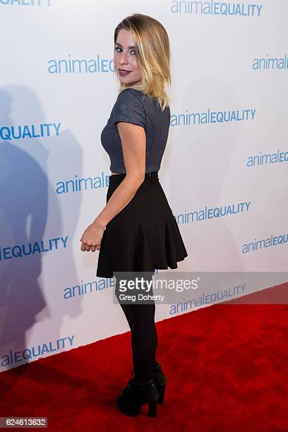 Lindsay Lamb arrives at the Animal Equality 10th Anniversary Celebration Honoring Moby at At The P on November 19 2016 in Los Angeles California