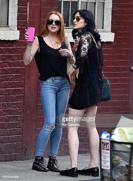 Lindsay Lohan and Ali Lohan are seen in Soho on April 18 2016 in New York City